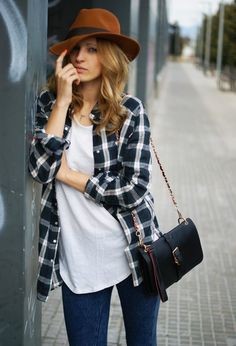 The perfect plaid and white tee combo