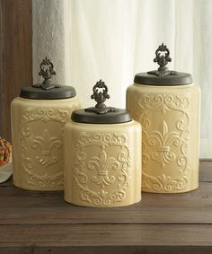 Cream Antiqued Canister Set Jay Import