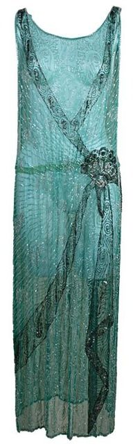 Beaded Flapper Dress in Turquoise Silk Chiffon - 1920's - @~ Mlle