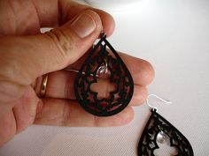 Black Filigree Crystal Earrings Night At The Opera by PixieDust, $22.00