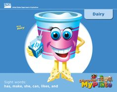 A sight word mini book about the Dairy Food Group from Discover #MyPlate. #DairyMonth #parents  #education  #literacy #kindergarten http://www.fns.usda.gov/tn/discover-myplate-emergent-reader-mini-books