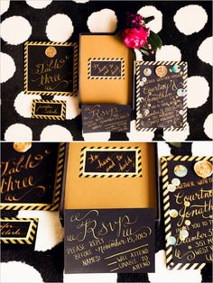 black and gold wedding invite #NYEwedding #newyearseve #weddingchicks http://www.weddingchicks.com/2013/12/31/new-years-eve-wedding-inspiration/