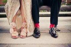 sock, diy ideas, indian weddings, chicago wedding, fabric flowers, wedding shoes, heel, bride, green weddings
