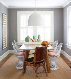 These unique chairs keep this room feeling fresh. More decorating in gray:  http://www.bhg.com/decorating/color/neutrals/decorating-with-gray/?socsrc=bhgpin082113wickerchairs=13