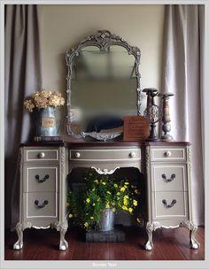 Cherry reproduction vanity in Stampede by Benjamin Moore
