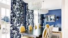 Navy Dining room with chartreuse chairs