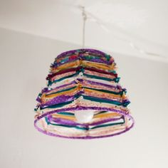 Create a cute lampshade with just fabric scraps and a wire lampshade frame.