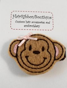 Cute Felt Monkey Hair Clip