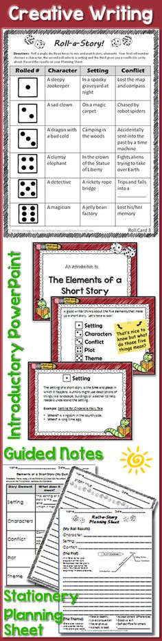 "These ""Roll-a-Story"" cards allow for 864 different story combinations! Plus elements of a story PowerPoint & more. #creativewriting #sillystorystarters #commoncore"