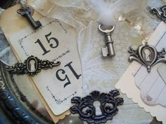 8 Sets of 8 - 64 pc. Count Steampunk Vintage Style Keys & Door Locks-Weddings-Receptions-Jewelry Making-Crafting-New Items