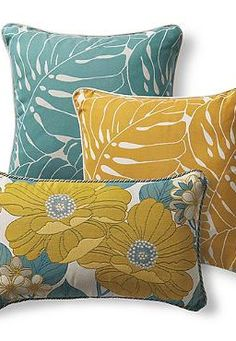 Bring new life to your outdoor seating with beautiful design and soft colors of the Set of Three Marigold Designer Pillows.