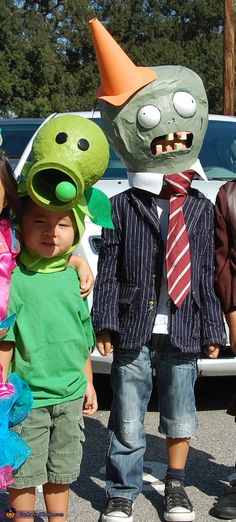 Front view of Cone head Zombie and Pea Shooter. Plants vs. Zombies - Homemade costumes for kids