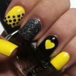 Nail designs, nail art, black, neon, yellow, sparkles, glitter, patterns, polka dots, hearts, manicure, cute, easy, diy