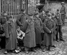 Young German POWs captured by the 9th Armored Division, Germany 1945