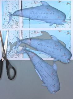 Free printable whale bookmarks or gift tags from Kate's Creative Space.