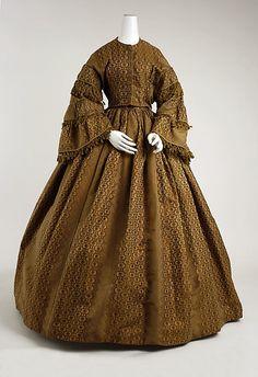 Dress 1856, American, Made of silk ball dress, museums, war ball, 19th centuri, metropolitan museum, art, civil war, dress 18561858, vintag dressescloth