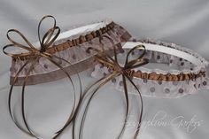 "Wedding Garter Set in Pale Pink Polka Dot & Chocolate Brown with Swarovski Crystals by Sugarplum Garters | Use code ""PINTEREST"" for 10% off at checkout! wedding garters, garter design"