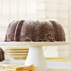 Dark Chocolate Bundt Cake | A real treat to eat, this rich chocolate bundt cake will be a favorite at any gathering. | SouthernLiving.com