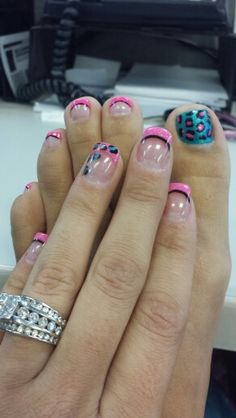Fun summer leopard nails and toes