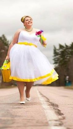 I love the yellow but could never wear this dress. That white would be ruined within hours.
