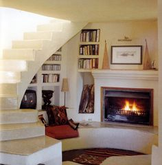 fireplace bench, stairs