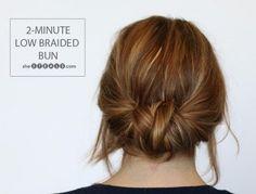 2-minute low braided bun