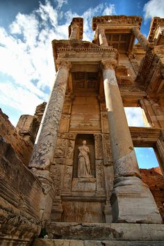 The Library of Celsus in Ephesus was built in 117 A.D  as a tomb for Gaius Julius Celsus Polemaeanus, the governor of the province of Asia. The capacity of the library was more than 12,000 scrolls. It was the third richest library in ancient times after the ones in Alexandria and Pergamum.