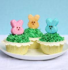 3 Peeps cupcakes (Homemade Marshmallow Peeps in Carrot Cake Cupcakes topped with frosting and green dyed coconut flakes) Now if that's not the cutest Easter dessert, I don't know what is!