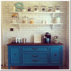 bright colored kitchen buffet / coffee bar...never knew what to paint my buffet...until now!!!!
