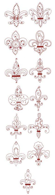 fleur de lis redwork designs by juju dbjj574