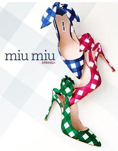 be mine. gingham, miumiu, fashion shoes, girl fashion, colors, heels, miu miu, girls shoes, picnic