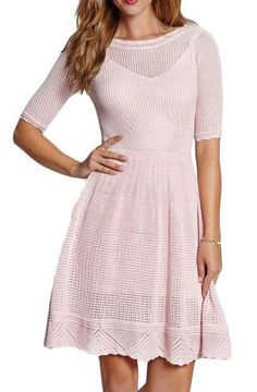 Pink Scoop-Neck Crochet Dress