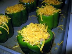 Stuffed Bell Peppers (FREEZER MEAL) - good to make and freeze now, when red, yellow and green peppers are so plentiful in the farmer's market!
