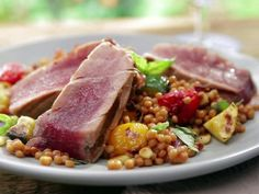 Grilled Tuna with Grilled Ratatouille Couscous and Deconstructed Pesto #Tuna #Ratatouille #Recipe #Grill