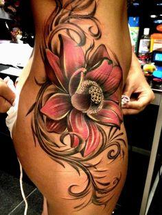 girl tattoos, tattoo idea, cover up, art, flower tattoos, flowers, tattoo ink, tribal tattoo, side tattoos