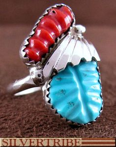 Authentic Sterling Silver Zuni Turquoise And Coral