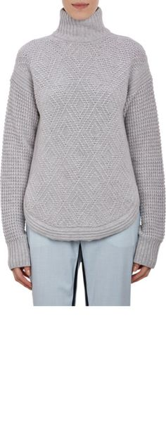 Barneys New York x Yasmin Sewell Mixed-Stitch Mock Turtleneck Sweater at Barneys.com