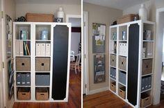 Turn one shelf of the expedit ikea bookshelf on it's side and make it a chalkboard!