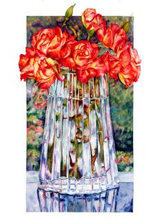 Roses in the Window | Sally Robertson Gallery, w/c