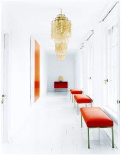 interior, orang, bench, color, chandeliers