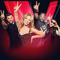 The Voice Australia w Kylie Minogue, Will I am and Joel Madden.