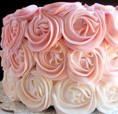 Bridal Shower pink food | ... wedding cake girlie ombre cake bridal shower sweet 16 rose cake pary