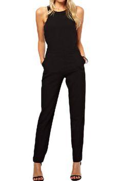 ROMWE Cut-out Sleeveless Slim Black Jumpsuit black jumpsuit