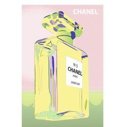 Vintage Poster - Chanel No. 5 - Parfum - Perfume - Chanel Bottle - Paris - Pink - Green - Pastel - Luxury - Pop Art - As seen on The Block Sky High - hardtofind.
