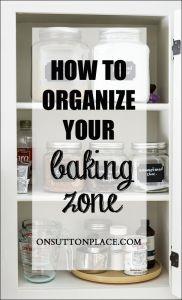 kitchen for storage, organize baking supplies, organizing baking supplies, baking supplies organization, zone organ