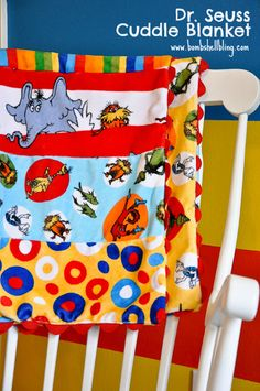 Dr. Seuss Cuddle Blanket with Ric Rac. Tutorial by @Sarah McKenna of Bombshell Bling and Jumbo ric ric from @theribbonretreat. See the tutorial on My Cuddle Corner, our blog. #MyCuddleCorner #Cuddle #CuddleBlanketwithRicRac
