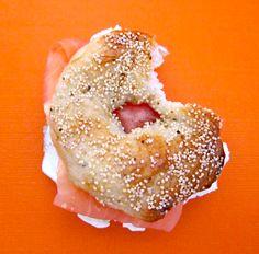 Mini cream cheese and smoked salmon white poppy bagel
