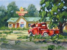 AMERICANA, NOSTALGIA, TRUCK and RETRO 50S ABANDONED MOTEL, TOM BROWN ORIGINAL OIL PAINTING, painting by artist Tom Brown