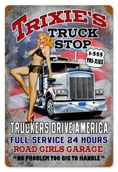 Vintage Trixies Truck Stop  - Pin-Up Girl Metal Sign, $39.97  #retro #vintage #homedecor #jackandfriends #tinsign #metalsign #gameroom #walldecor #nostalgia