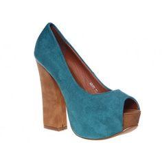 Pantofi cu platforma turqoise Amaya